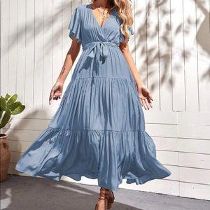 Boho butterfly sleeve belted A line dress